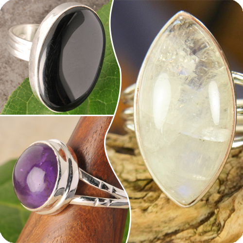 Silver Rings with Precious Stone