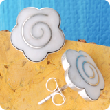 silver earring synth gemstone