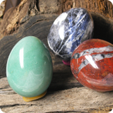 Stone eggs made from semi-precious stones
