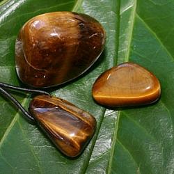 Tiger Eye Setl pendant and tumbled stone