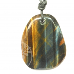 Tiger Eye Golden and Blue Pendant with Whole