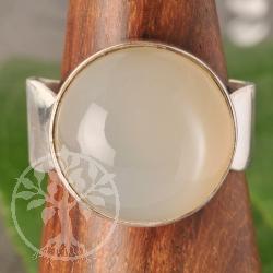 Mondstein Silberring Sterlingsilber Rund verstellbar Grösse 56-59