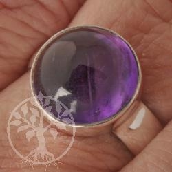 Amethyste Ring Round Gemstone Silver 925