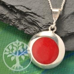 Silberanhaenger synthetische Koralle rotes Auge Silber 925