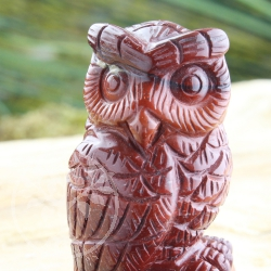 Red Jasper Gemstone Owl
