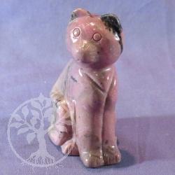 Steinfigur Katze Rhodonit
