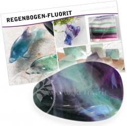Fluorit Regenbogenfarben Edelstein Set mit Karte Wirkung/Bedeutung