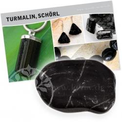 Turmalin Schwarz mit Beschreibungskarte