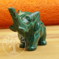 Elephant Malachite Gemstone Figure 015