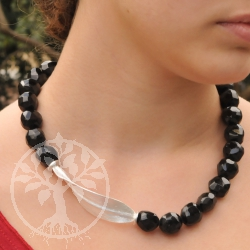 Turmaline black neklace with facetted beads and sterling silver