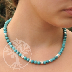 Turquoise Neklace Real Beads Ailver C-Clasp