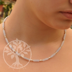 Chalcedony neklace with silverbeads our design for you