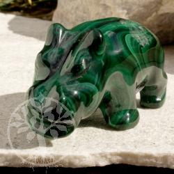 Malachit Steinfigur Nilpferd