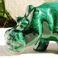 Hippo stone figure of malachite