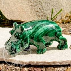 Gemstone Hippo figure of malachite