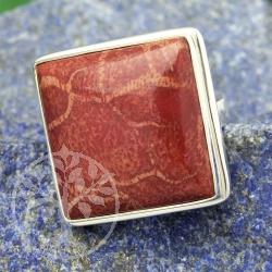 Quadratischer Korallenring Silberring