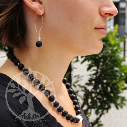 Black Obsidian Ball Earrings