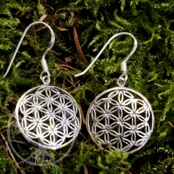 Silver Ear Pendant Flower of Life