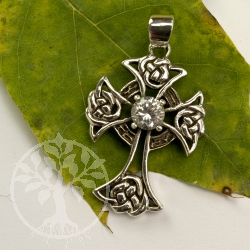 silver Crucifix celtic Crystel