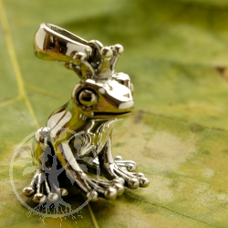 Frog with Crown Pendant Silver 925 Frog