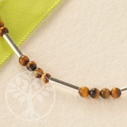 Tigerauge Halskette mit länglichen Silberperlen und kleinen Perlen