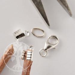 Verschluss Silber 925 für dickes Lederband Set für 3-4mm Band