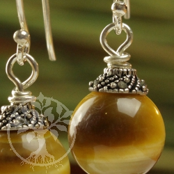 Tiger eye gold pearl ear pendants gold yellow