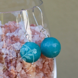 Amazonite Faceted ear pendants