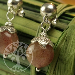 Muscovite ball stud earrings Sunflower