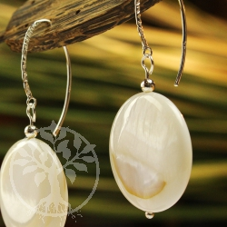 Mother of pearl earring pendant with full moon design ear hook Sterling silver