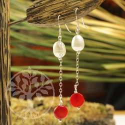 Ear pendant pearl coral Duo earrings real silver