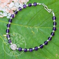 Amethyst Armband Spirale Sterling Silber Perlen dazwischen