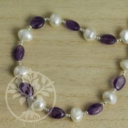 Amethyste Pearl Silver Necklace
