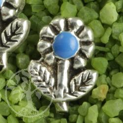Blüte Stiel Blau Ohrstecker 925er Silber Ohrringe