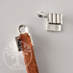 Crimp Endkappe Lederband gerillt 3-3.5mm 925er Silber