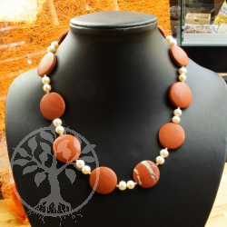 Necklace Red Jasper Pearl