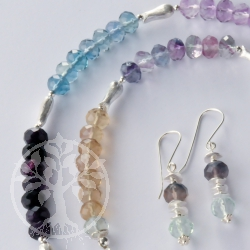 Fluorite Necklace Silver Fish