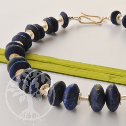 Lapis lazuli Necklace with Silver Discs