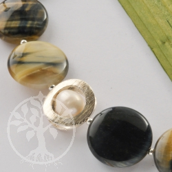 Tiger eye discs necklace pearl eye