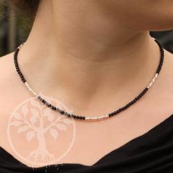 Obsidian Halskette Silber