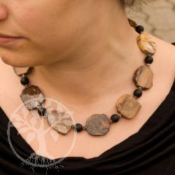 Halskette Versteinertes Holz Scheibe