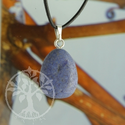Dumortierite matt pendant with loop sterlingsilver
