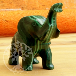 Elephant Malachite Gemstone Figure 013