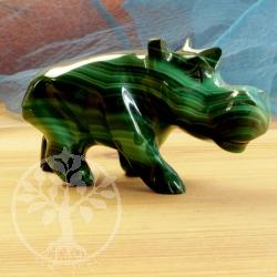 Malachit Steinfigur Nilpferd Nippo