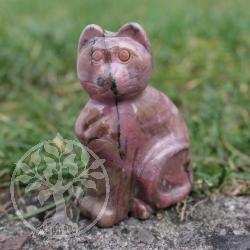 Katze Mikesch Stein-Figur aus Rhodonit