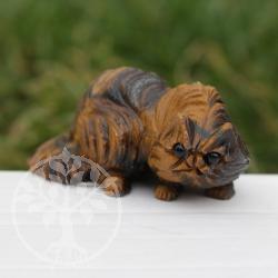 Wilde Perserkatze Tigerauge als Edelsteinkatze matt geschliffen
