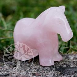 Pferd klein Röschen als Rosenquarz-Figur