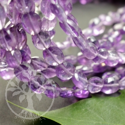 Amethyst Necklace Flat Olive Faceted Beads