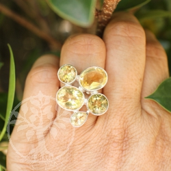 Citrine Silver Ring 5 faceted Gemstone