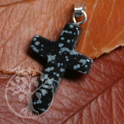 Snowflake Obsidian Cross Pendant small